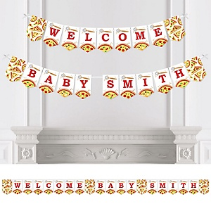 Pizza Party Time - Personalized Fiesta Baby Shower Bunting Banner and Decorations