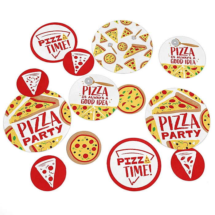 Pizza Party Time - Baby Shower or Birthday Party Giant Circle Confetti - Party Decorations - Large Confetti 27 Count