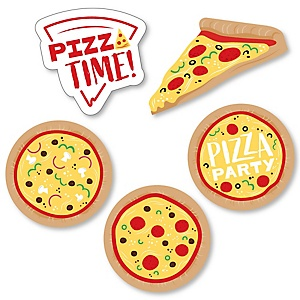 Pizza Party Time - DIY Shaped Baby Shower or Birthday Party Cut-Outs - 24 ct