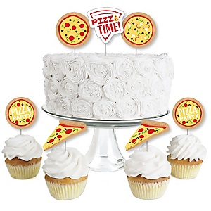 Pizza Party Time - Dessert Cupcake Toppers - Baby Shower or Birthday Party Clear Treat Picks - Set of 24