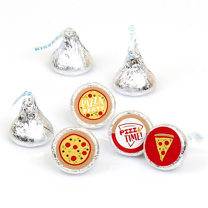 Pizza Party Time - Baby Shower or Birthday Party Round Candy Sticker Favors - Labels Fit Hershey's Kisses - 108 ct