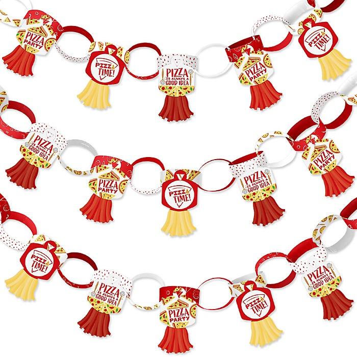 Pizza Party Time - 90 Chain Links and 30 Paper Tassels Decoration Kit - Baby Shower or Birthday Party Paper Chains Garland - 21 feet