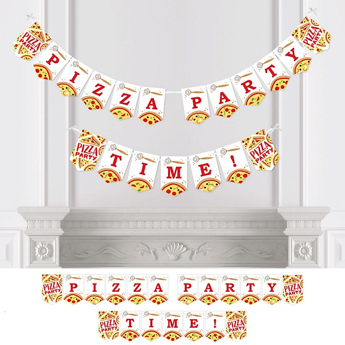 Pizza Party Time  - Baby Shower or Birthday Party Bunting Banner - Party Decorations - Pizza Party Time