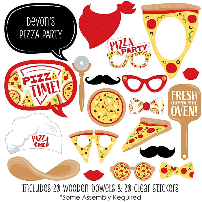 Pizza Party Time - 20 Piece Baby Shower or Birthday Party Photo Booth Props Kit