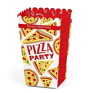 Pizza Party Time - Personalized Baby Shower or Birthday Party Favor Popcorn Treat Boxes - Set of 12