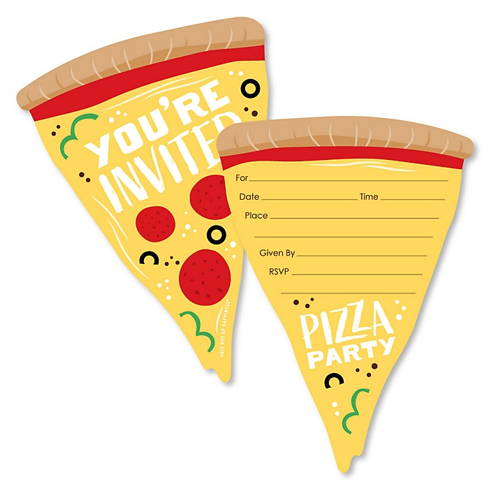 Pizza Party Time - Shaped Fill-In Invitations - Baby Shower or Birthday Party Invitation Cards with Envelopes - Set of 12