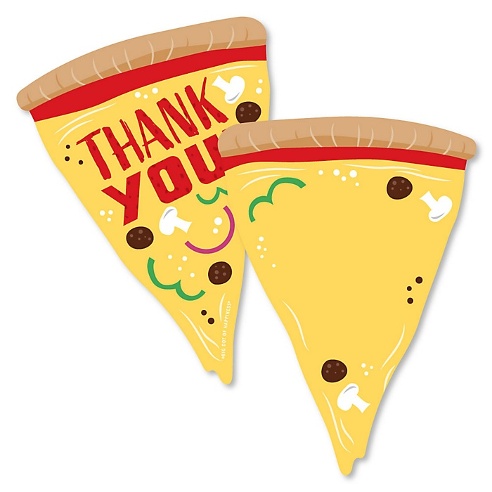 Pizza Party Time - Shaped Thank You Cards - Baby Shower or Birthday Party Thank You Note Cards with Envelopes - Set of 12