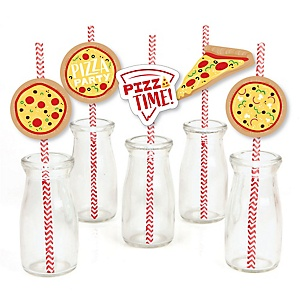 Pizza Party Time - Paper Straw Decor - Baby Shower or Birthday Party Striped Decorative Straws - Set of 24