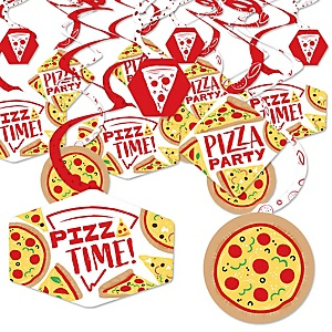 Pizza Party Time - Baby Shower or Birthday Party Hanging Decor - Party Decoration Swirls - Set of 40