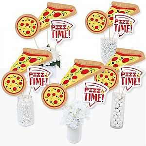 Pizza Party Time - Baby Shower or Birthday Party Centerpiece Sticks - Table Toppers - Set of 15