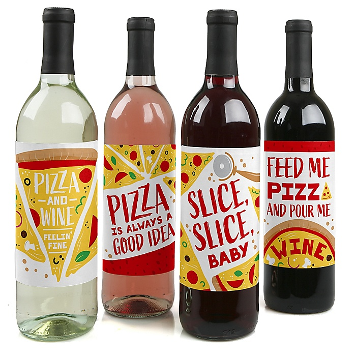 Pizza Party Time - Baby Shower or Birthday Party Decorations for Women and Men - Wine Bottle Label Stickers - Set of 4