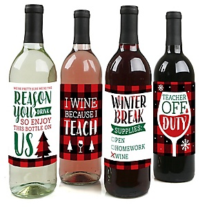 Plaid Teacher Appreciation - Holiday and Christmas Gifts  Decorations for Women and Men - Wine Bottle Label Stickers - Set of 4