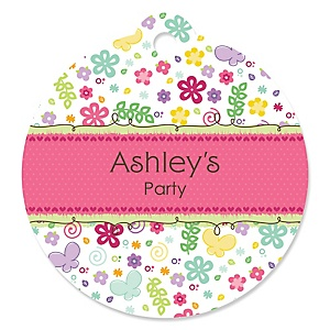 Playful Butterfly and Flowers - Round Personalized Party Tags - 20 ct