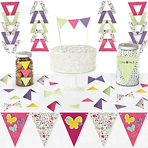 Playful Butterfly and Flowers - DIY Pennant Banner Decorations - Baby Shower or Birthday Party Triangle Kit - 99 Pieces