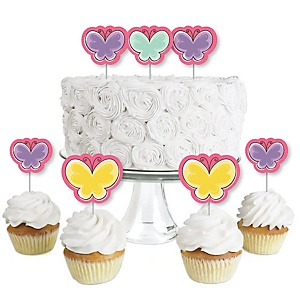 Playful Butterfly and Flowers - Dessert Cupcake Toppers - Baby Shower or Birthday Party Clear Treat Picks - Set of 24