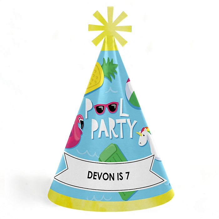 Make A Splash - Pool Party - Personalized Cone  Happy Birthday Party Hats for Kids and Adults - Set of 8 (Standard Size)