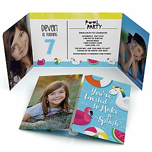 Make A Splash - Pool Party - Personalized  Birthday Party Photo Invitations - Set of 12