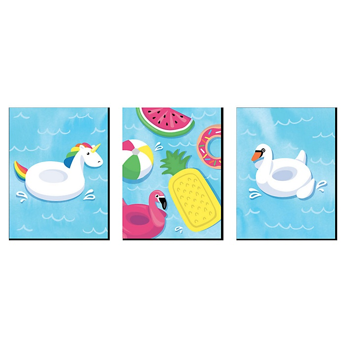 Make A Splash - Pool Party - Pool House Wall Art, Kids Room Decor and Floaties Decorations - 7.5 x 10 inches - Set of 3 Prints