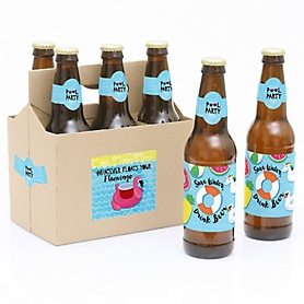 Make A Splash - Pool Party - Decorations for Women and Men - 6 Summer Swimming Party Beer Bottle Label Stickers and 1 Carrier