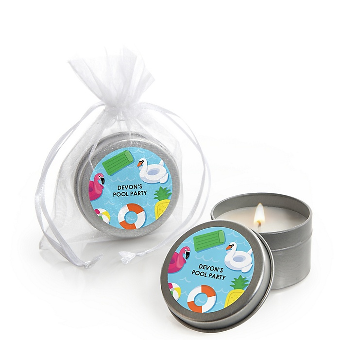 Make A Splash - Pool Party - Personalized Summer Swimming Party or Birthday Party Candle Tin Favors - Set of 12