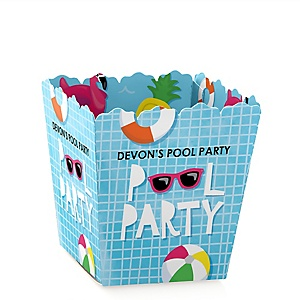 Make A Splash - Pool Party - Party Mini Favor Boxes - Personalized Summer Swimming Party or Birthday Party Treat Candy Boxes - Set of 12
