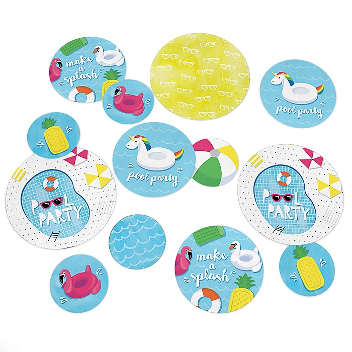 Make A Splash - Pool Party - Summer Swimming Party Giant Circle Confetti - Birthday Party Decorations - Large Confetti 27 Count