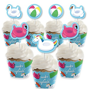 Make A Splash - Pool Party - Cupcake Decoration - Summer Swimming Party or Birthday Party Cupcake Wrappers and Treat Picks Kit - Set of 24
