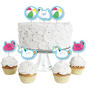 Make A Splash - Pool Party - Dessert Cupcake Toppers - Summer Swimming Party or Birthday Party Clear Treat Picks - Set of 24
