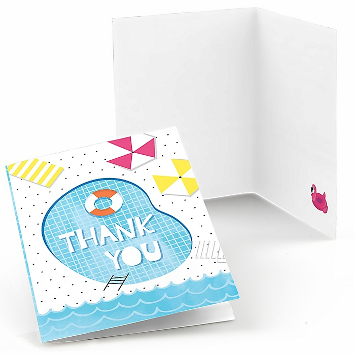 Make A Splash - Pool Party - Summer Swimming Party or Birthday Party Thank You Cards - 8 ct