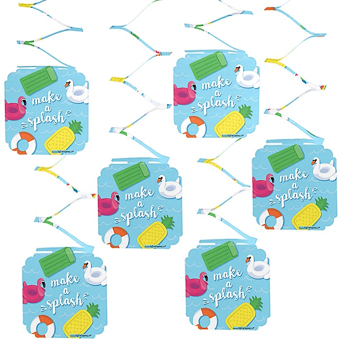 Make A Splash - Pool Party - Summer Swimming Party or Birthday Party Hanging Decorations - 6 ct