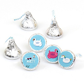 Make A Splash - Pool Party - Summer Swimming Party or Birthday Party Round Candy Sticker Favors - Labels Fit Hershey's Kisses  - 108 ct