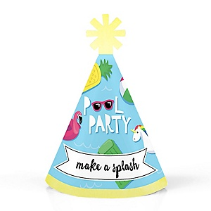 Make A Splash - Pool Party - Personalized Mini Cone Summer Swimming Party or Birthday Party Hats - Small Little Party Hats - Set of 10