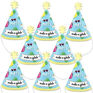 Make A Splash - Pool Party - Mini Cone Summer Swimming Party or Birthday Party Hats - Small Little Party Hats - Set of 8