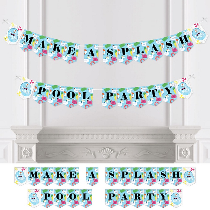 Make A Splash - Pool Party - Personalized Summer Swimming Party Bunting Banner & Decorations