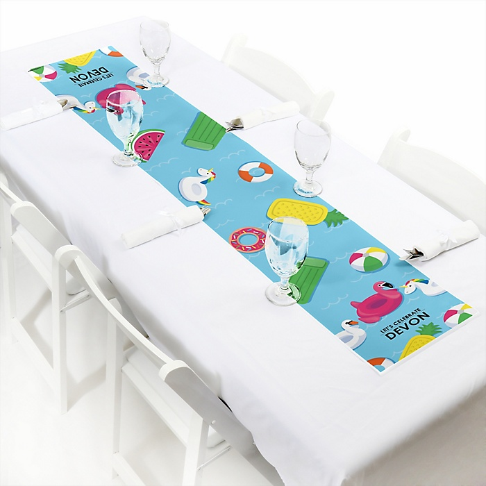 "Make A Splash - Pool Party - Personalized Petite Summer Swimming Party or Birthday Party Table Runner - 12"" x 60"""