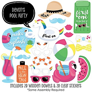 Make A Splash - Pool Party - 20 Piece Summer Swimming Party or Birthday Party Photo Booth Props Kit