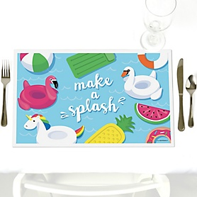Make A Splash - Pool Party - Party Table Decorations - Summer Swimming Party or Birthday Party Placemats - Set of 12