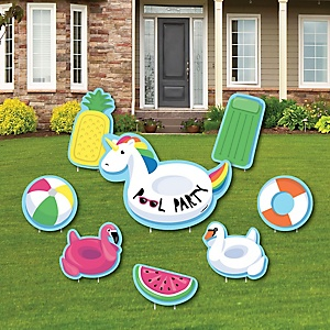 Make A Splash - Pool Party - Yard Sign & Outdoor Lawn Decorations - Summer Swimming Party or Birthday Party Yard Signs - Set of 8