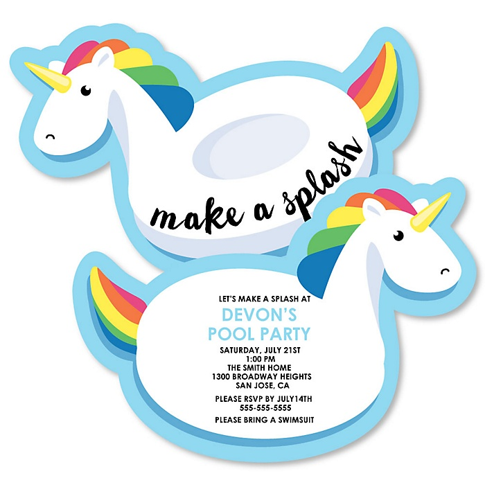 Make A Splash - Pool Party - Shaped Summer Swimming Party Invitations - Set of 12