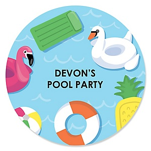 Make A Splash - Pool Party - Personalized Summer Swimming Party or Birthday Party Sticker Labels - 24 ct