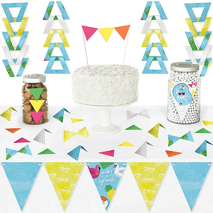 Make A Splash - Pool Party - DIY  Pennant Banner Decorations - Summer Swimming Party or Birthday Party Triangle Kit - 99 Pieces