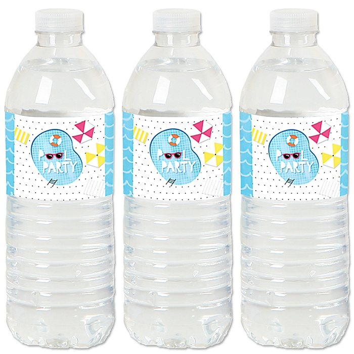 Make A Splash - Pool Party - Summer Swimming Party or Birthday Party Water Bottle Sticker Labels - Set of 20