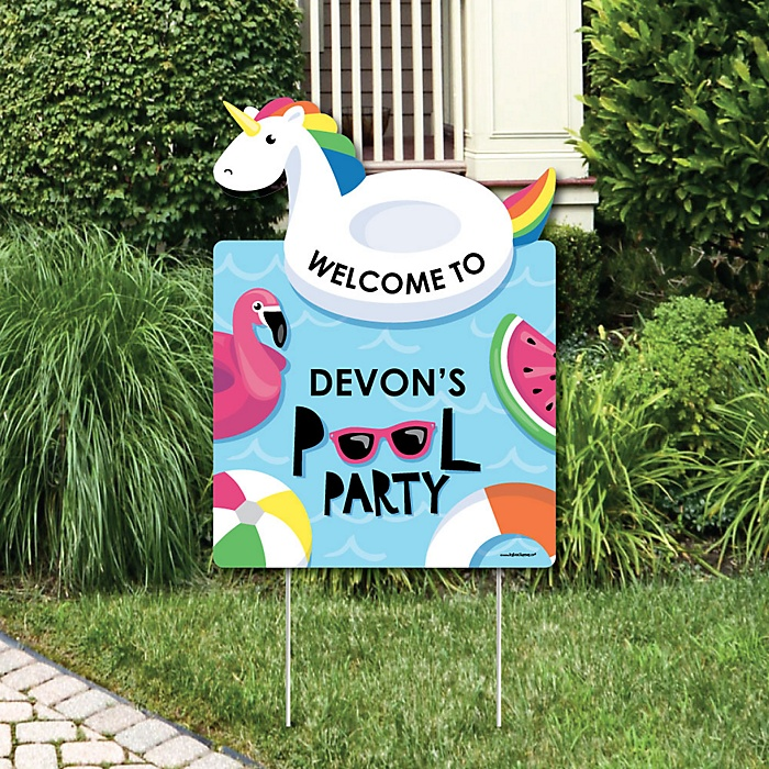 Make A Splash - Pool Party - Party Decorations - Summer Swimming Party or Birthday Party Personalized Welcome Yard Sign