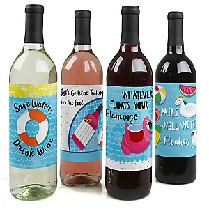 Make A Splash - Pool Party - Summer Swimming Party Decorations for Women and Men - Wine Bottle Label Stickers - Set of 4