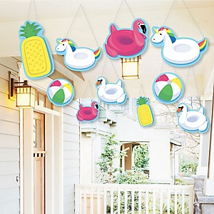 Hanging Make A Splash - Pool Party - Outdoor Summer Swimming Party or Birthday Party Hanging Porch & Tree Yard Decorations - 10 Pieces