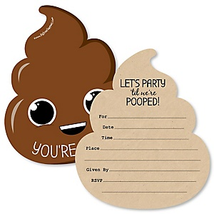 Party 'Til You're Pooped - Shaped Fill-In Invitations - Poop Emoji Party Invitation Cards with Envelopes - Set of 12