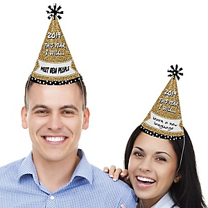 Pop, Fizz, Clink! - Cone Party Hats -  2019 New Year's Eve Resolution Cone Party Hats for Kids and Adults - Set of 8 (Standard Size)