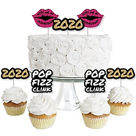 Pop, Fizz, Clink! - Dessert Cupcake Toppers - New Years Eve 2020 Party Clear Treat Picks - Set of 24
