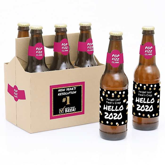 Pop, Fizz, Clink! - Decorations for Women and Men - 6 Holiday 2020 New Year's Eve Beer Bottle Label Stickers and 1 Carrier