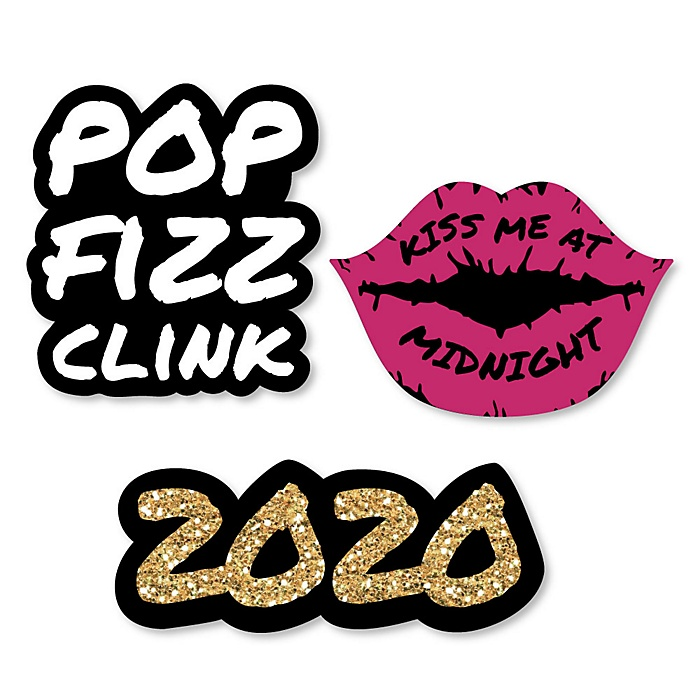 Pop, Fizz, Clink! - DIY Shaped 2020 New Year's Eve Party Paper Cut-Outs - 24 ct